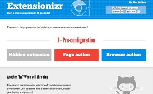 Google Chromeのプラグインを作る際に使えるテンプレート Extensionizr